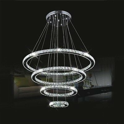 2 of 8 Modern Luxury DIY Crystal Chandelier Pendant Light Ceiling L& Round 4 LED Ring & MODERN LUXURY DIY Crystal Chandelier Pendant Light Ceiling Lamp ...