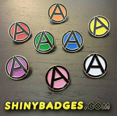 """1/"""" Black and Pink Anarchy Lapel Pin"""
