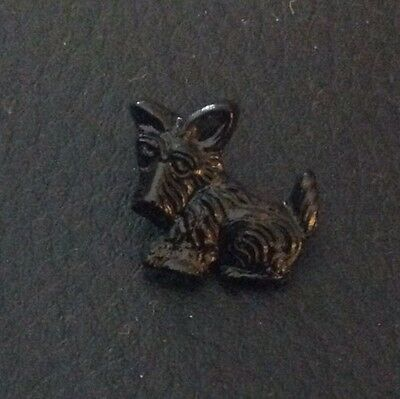 "⭐️ Vintage 5/8"" Realistic Novelty Figural Plastic Black Scottie Puppy Dog Button 2"