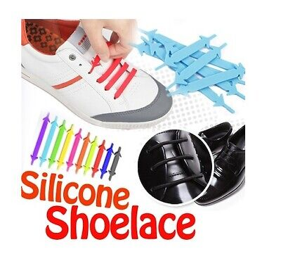 Easy No Tie Elastic Shoe Lace Silicone Adult Kids Cool All Colours Shoelaces 3