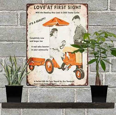 1951 Case Tractor Farm Ad Advertising Baked Metal Repro Sign 9x12 60171