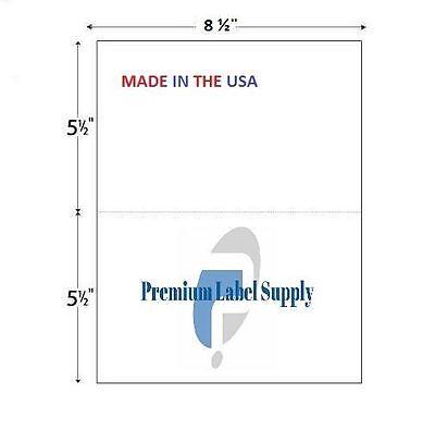 "1000 8.5"" X 5.5"" Half Sheet Self Adhesive Shipping Labels PLS Brand"