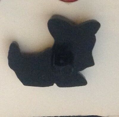 "⭐️ Vintage 5/8"" Realistic Novelty Figural Plastic Black Scottie Puppy Dog Button 3"