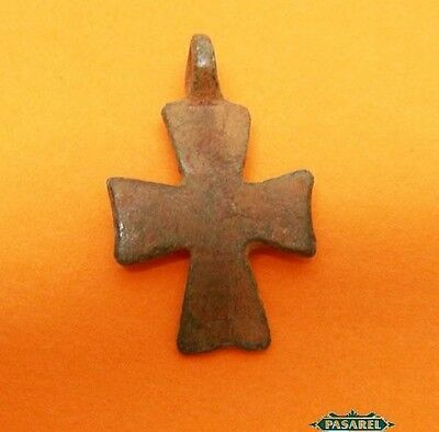 Rare Ancient Byzantine Period Bronze Pendant Cross Israel 4th - 7th Century