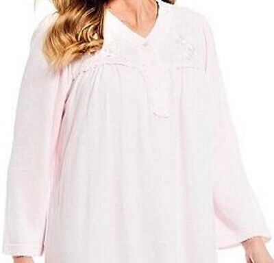 "Nwt Miss Elaine Cuddleknit Pink L/S 49"" Long Ballet Nightgown Gown $54 3X 3Xl 3"