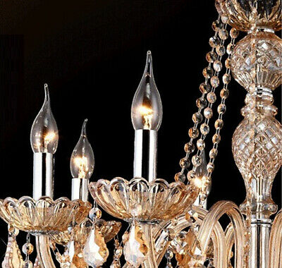 Antique European Italian French CHANDELIER Crystal Silver Champagne 6 Arm Light 12