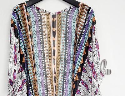 AU SELLER BOHO Oversize Bikini Cover UP Beach Kimono Chiffon Dress sw091