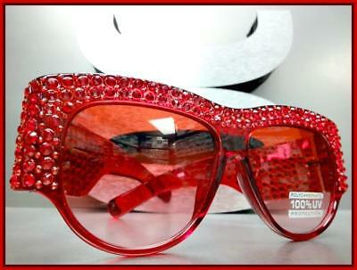 OVERSIZED VINTAGE RETRO Style SUN GLASSES Large Red Square Frame Bling Crystals