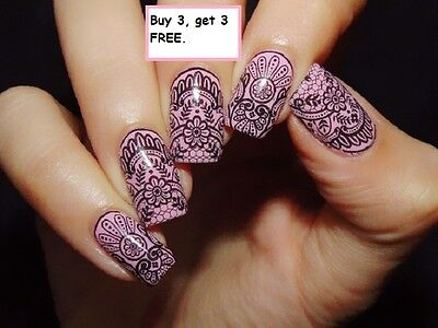Nail Art Water Decals Stickers Transfers Black Lace Roses Wedding Gel Polish 3
