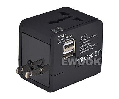 Universal Travel Adapter Dual 2 USB Plug Charger AC Power UK US EU AU 3