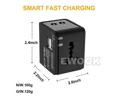 Universal Travel Adapter Dual 2 USB Plug Charger AC Power UK US EU AU 9