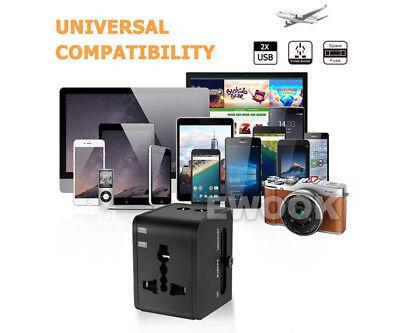 Universal Travel Adapter Dual 2 USB Plug Charger AC Power UK US EU AU 10