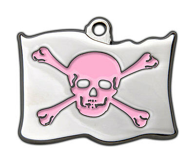 Dog Tags Highly Polished Pirate Skull Crossbones Name Dog Cat Pet ID Discs Disk