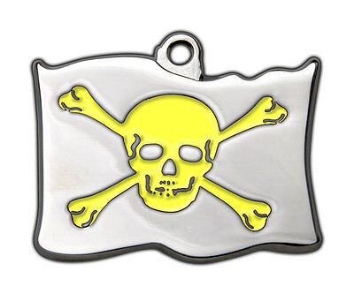 Dog Tags Highly Polished Pirate Skull Crossbones Name Dog Cat Pet ID Discs Disk 6