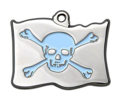 Dog Tags Highly Polished Pirate Skull Crossbones Name Dog Cat Pet ID Discs Disk 9