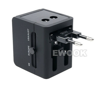 Universal Travel Adapter Dual 2 USB Plug Charger AC Power UK US EU AU 7