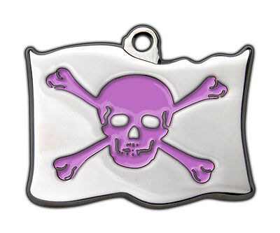 Dog Tags Highly Polished Pirate Skull Crossbones Name Dog Cat Pet ID Discs Disk 5