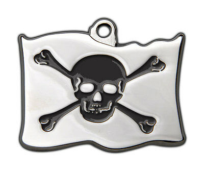 Dog Tags Highly Polished Pirate Skull Crossbones Name Dog Cat Pet ID Discs Disk 7