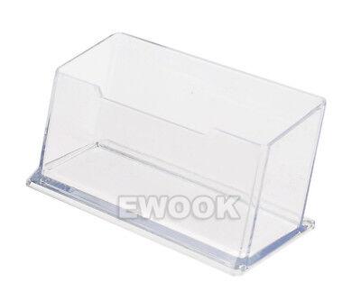 10X Clear Desktop Business Card Holder Display Stand Plastic Desk Shelf LOT PP 2