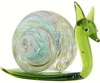COLLECTIBLE BLOWN GLASS CREATURES AND ANIMALS -Milano Snail (Green) - MA094 5