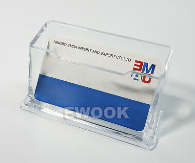 10X Clear Desktop Business Card Holder Display Stand Plastic Desk Shelf LOT PP 6