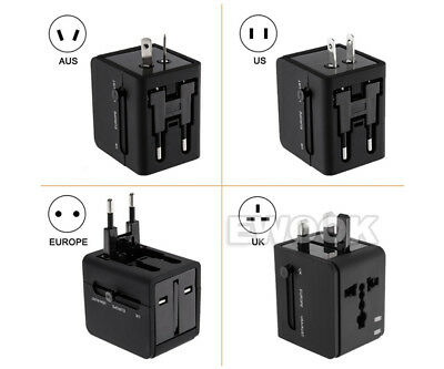 Universal Travel Adapter Dual 2 USB Plug Charger AC Power UK US EU AU 8