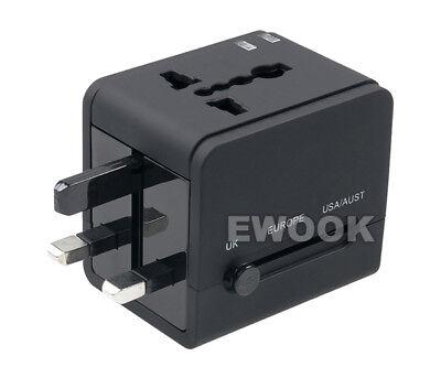 Universal Travel Adapter Dual 2 USB Plug Charger AC Power UK US EU AU 5