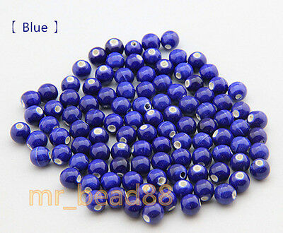 New 10/20pcs Round Ceramic Porcelain Candy Color Charms Loose Beads 8mm Findings