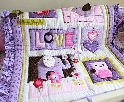 New Baby Girls 9 Pieces Cotton Nursery Bedding Crib Cot Sets-- Purple Owl Bird