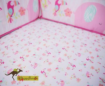 New Baby Girls 9 Pieces Pink Elephant Theme Cotton Nursery Bedding Crib Cot Sets