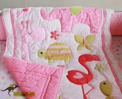 New Baby Girl 8 Pieces Pink Elephant theme Cotton Nursery Bedding Crib Cot Sets