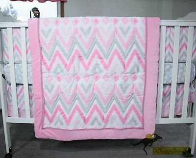 New Baby Girls 8 Pieces Line Pattern Theme Cotton Nursery Bedding Crib Cot Set