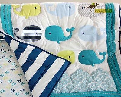 New Baby Boys 8 Pieces Whale Ocean Theme Cotton Nursery Bedding Crib Cot Sets