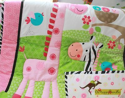 New Baby Girls 9 Pieces Cotton Nursery Bedding Crib Cot Sets-- Jungle Animals