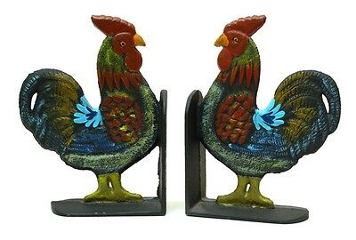 """Cast Iron Rooster Cookbook Bookends Set 8"""" tall Kitchen Decor 0170-04408 7"""