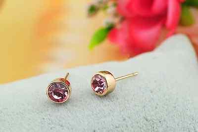 Stunning 18K Rose Gold GF 5MM SWAROVSKI Lab Diamond Stud Earrings Lovely Gift 6