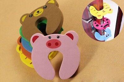 4Pcs Kids Baby Toddler Safety Animal Cartoon Door Stopper Finger Pinch Guard 6