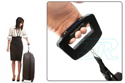 Portable Electronic Digital Luggage Scale Travel 50KG Handheld Suitcase 10G 12