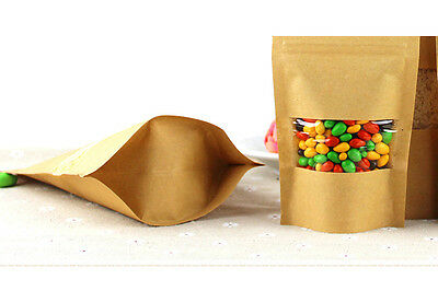 100× Kraft Paper Bag Window Stand Up Pouch Zip Lock Resealable Heat Seal Display 9