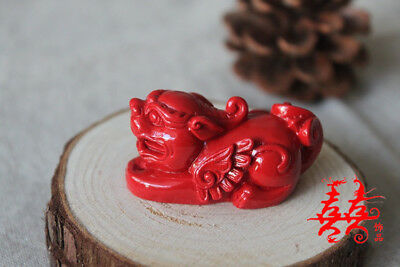 Natural Red Cinnabar Carving Lacquer Chinese Pi Xiu Yao Foo Dog Wealth Pendant 3