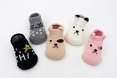 Beautiful Babies Kids Non Slip Warm Slipper Fluffy Bed Socks Super Soft 0-2 Lot 7