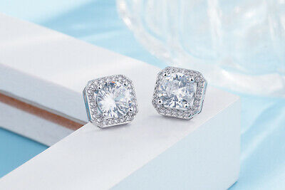 Crystal Square Stone Stud Earrings 925 Sterling Silver Womens Jewellery Gift New 3