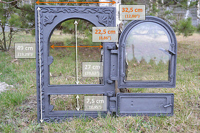 32,5x49cm BIG Cast iron fire door clay / bread oven /pizza stove fireplace DZ022 6