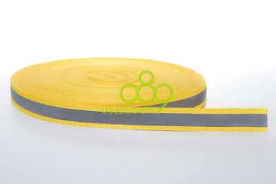 "Reflective Fabric Tape Strip Edging Braid Trim Sew On 0.4""x164 ft Yellow # GY 4"