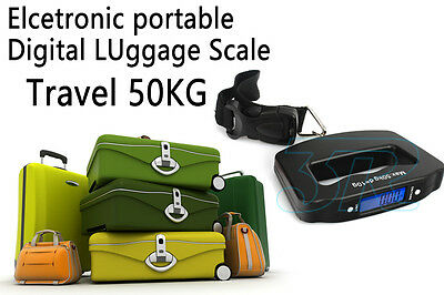 Portable Electronic Digital Luggage Scale Travel 50KG Handheld Suitcase 10G 8