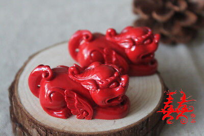 Natural Red Cinnabar Carving Lacquer Chinese Pi Xiu Yao Foo Dog Wealth Pendant 4