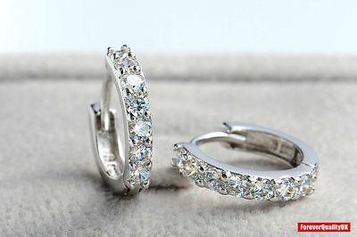 Charm Crystal 925 Sterling Silver Stud Hoop Earrings Fashion Women UK Jewelry 4