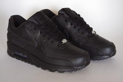 Nike Air Max 90 Leather All Black New Men Roshe Huarache Presto Retro 302519-001 3