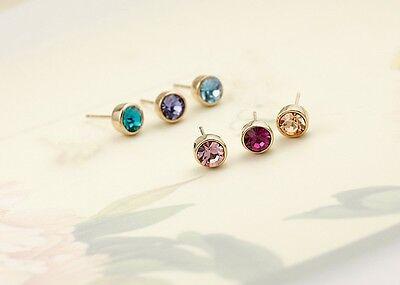 Stunning 18K Rose Gold GF 5MM SWAROVSKI Lab Diamond Stud Earrings Lovely Gift 2