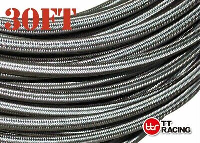 AN-8 AN8 Stainless Steel PTFE Fuel Line 30FT 12 Fittings Hose End Ethanol Kit